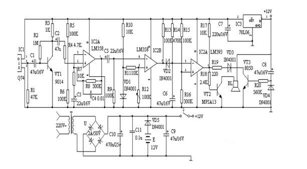 信号放大电路,电压比较器,延时电路和音响报警电路等组成.