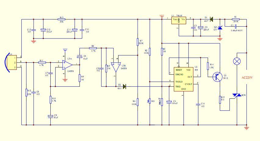 热释电传感器原理:热释电红外传感器在结构上引入场效应管,其目的在于完成阻抗变换。由于热电元输出的是电荷信号,并不能直接使用,因而需要用电阻将其转换为电压形式。故引入的N沟道结型场效应管应接成共漏形式来完成阻抗变换。热释电红外传感器由传感探测元、干涉滤光片和场效应管匹配器三部分组成。设计时应将高热电材料制成一定厚度的薄片,并在它的两面镀上金属电极,然后加电对其进行极化,这样便制成了热释电探测元。原理图如下:   相关文章标签: 1.